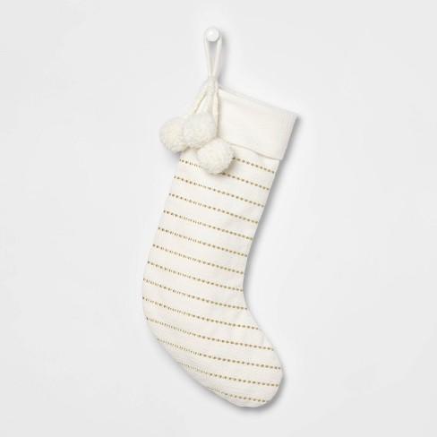 Lurex Metallic Stripe Christmas Stocking Cream/Gold - Wondershop™ - image 1 of 2