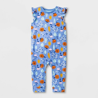 Baby Girls' Floral Print Romper - Cat & Jack™ Blue 6-9M