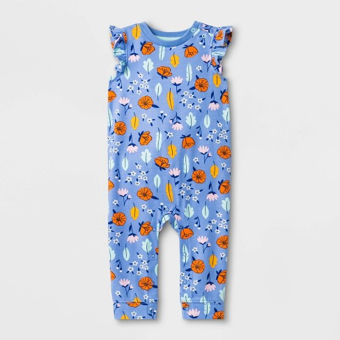 Baby Girls' Floral Print Romper - Cat & Jack™ Blue - image 1 of 2