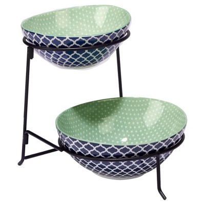 Certified International® Chelsea Mix & Match Porcelain and Metal 2-Tier Server with Oval Bowls Blue