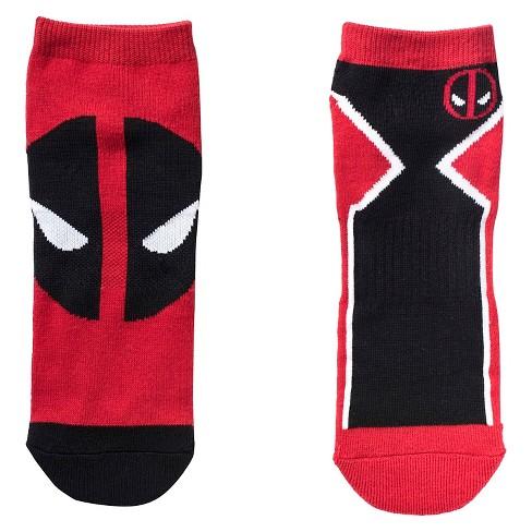 Marvel Mens Deadpool 2pk Athletic Socks Redblack One Size Target