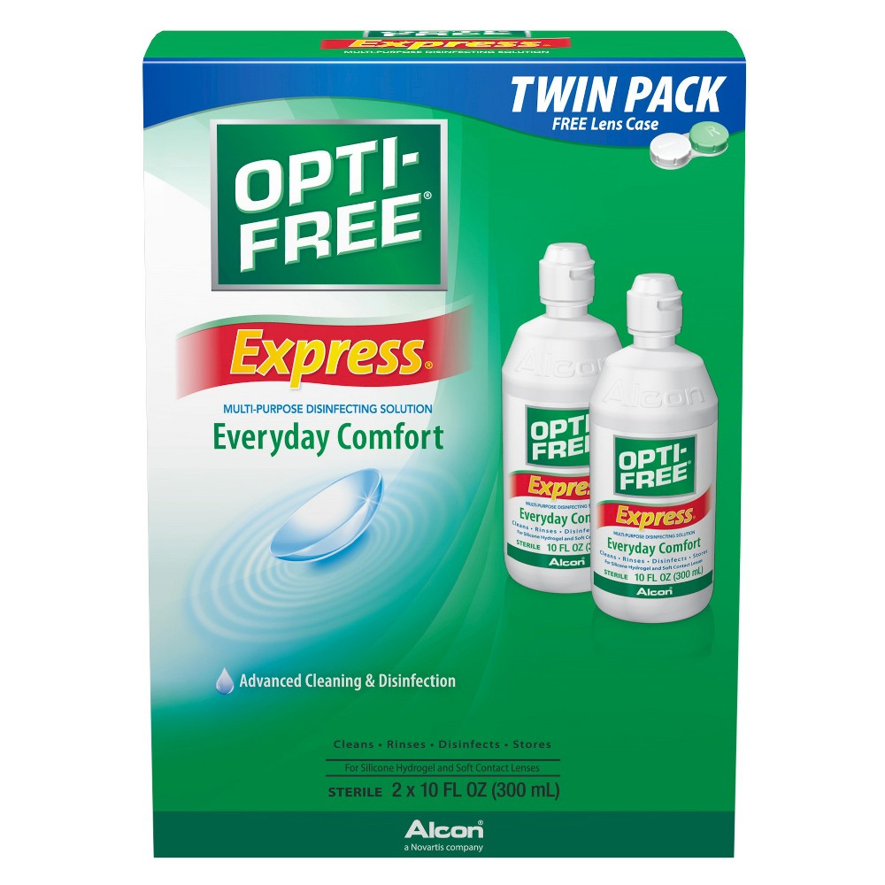 Express Lasting Comfort Disinfecting Solution for Contact Lens - 2ct Keep your contact lenses stored properly with the Opti-Free Express Lasting Comfort Contact Lens Solution. This contact lens solution works to not only clean your contact lenses but also to rinse, disinfect and store them for long-term use. It works with silicone hydrogel and soft lenses. Size: 20 fl oz. Age Group: Adult.