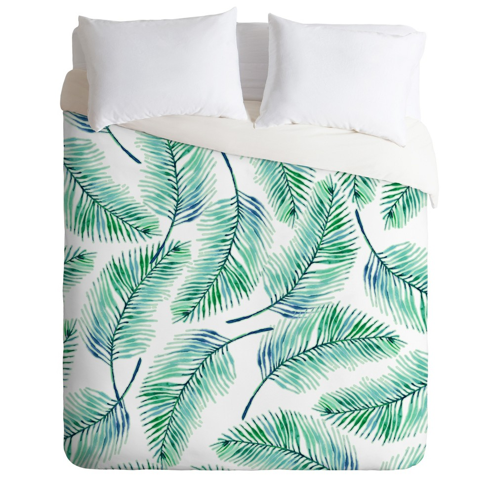 Twin/Twin XL 83 Oranges Palm Leaves Duvet Set Green - Deny Designs