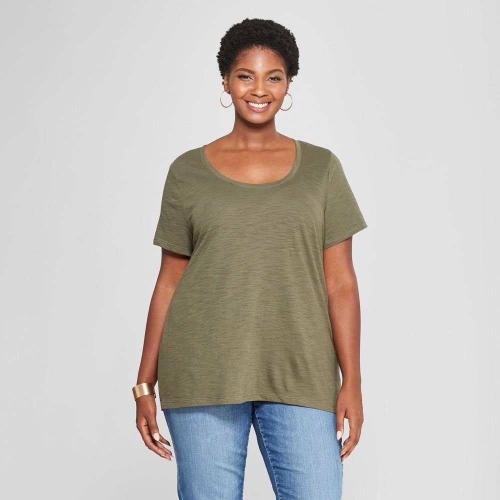 Women's Plus Size Scoop Neck Short Sleeve T-Shirt - Ava & Viv Olive (Green) 3X