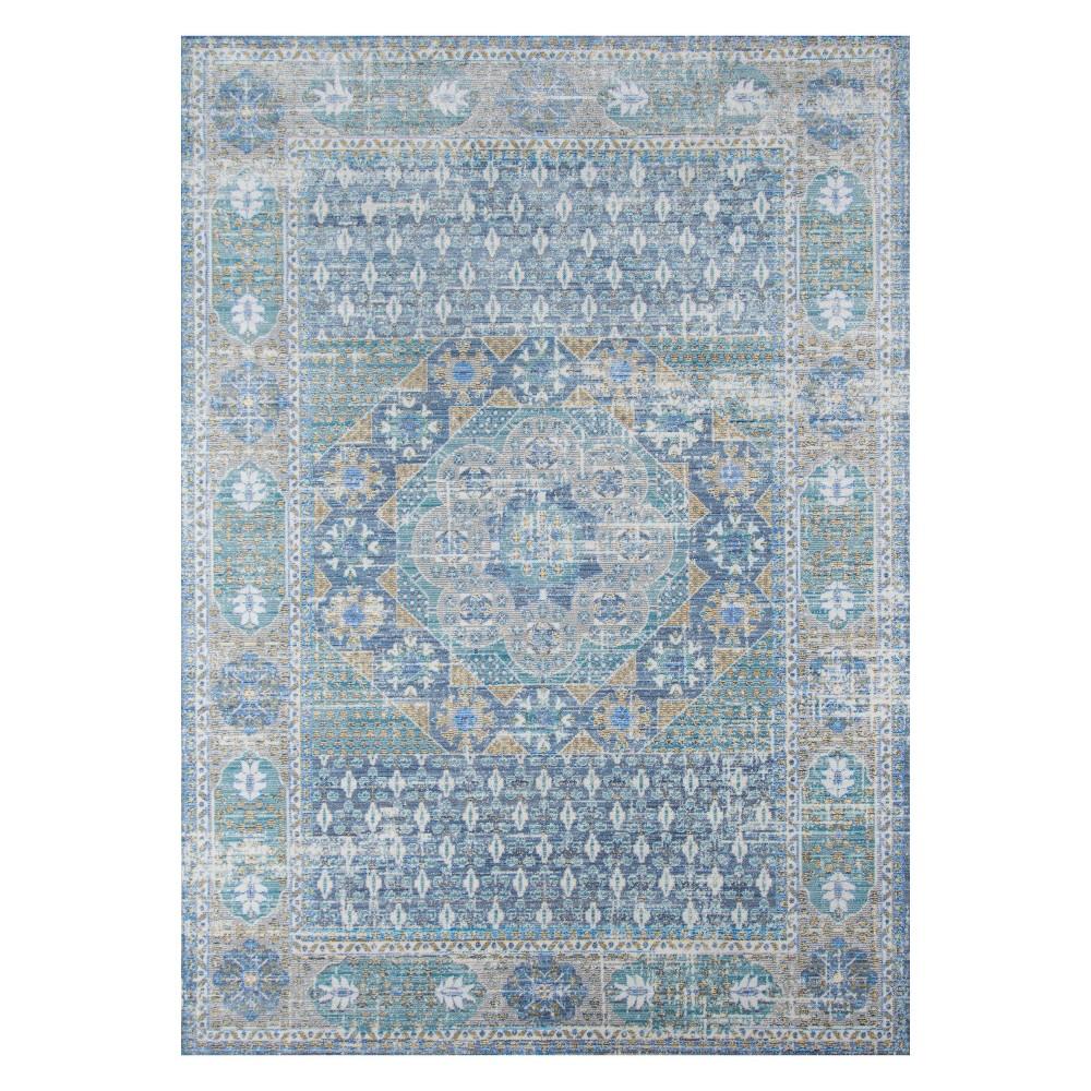 Blue Shapes Loomed Area Rug 8'x10' - Momeni