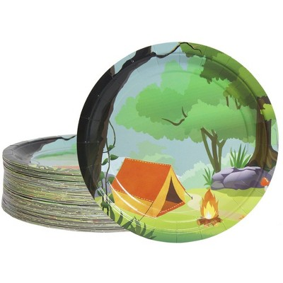 Blue Panda Disposable Plates - 80-Count Paper Plates, Camping Party Supplies, 9 Inches in Diameter