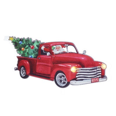 """Mr. Christmas Indoor LED Window Decal Christmas Decoration - Red Truck - 6"""" x 10"""""""