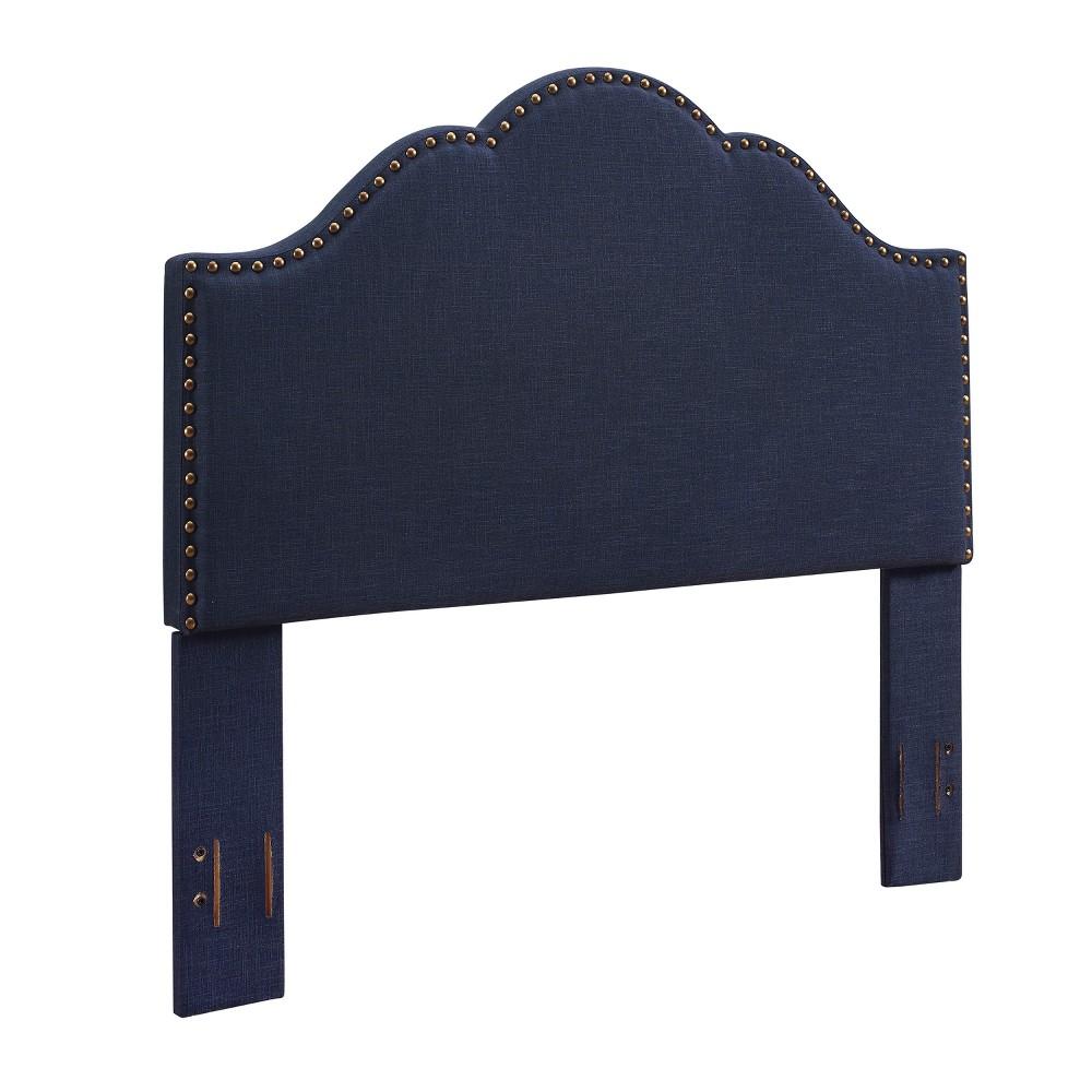 Preston Camelback Upholstered King/Cal King Adult Headboard Linen Navy (Blue) - Crosley