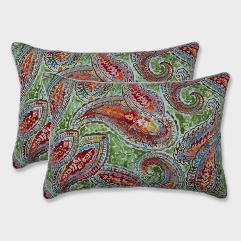 2pk Oversize Bright and Lively Fiesta Rectangular Throw Pillows Green - Pillow Perfect - image 1 of 1