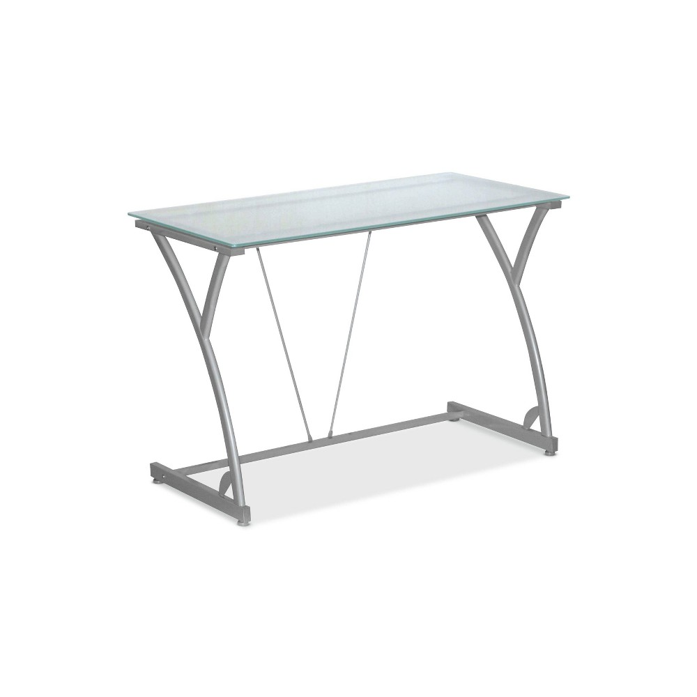 Sadie Table Desk with Frosted Glass Top Silver - Hon