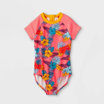 Girls' Retro Tropical Floral Print Short Sleeve One Piece Swimsuit - art class™ Coral