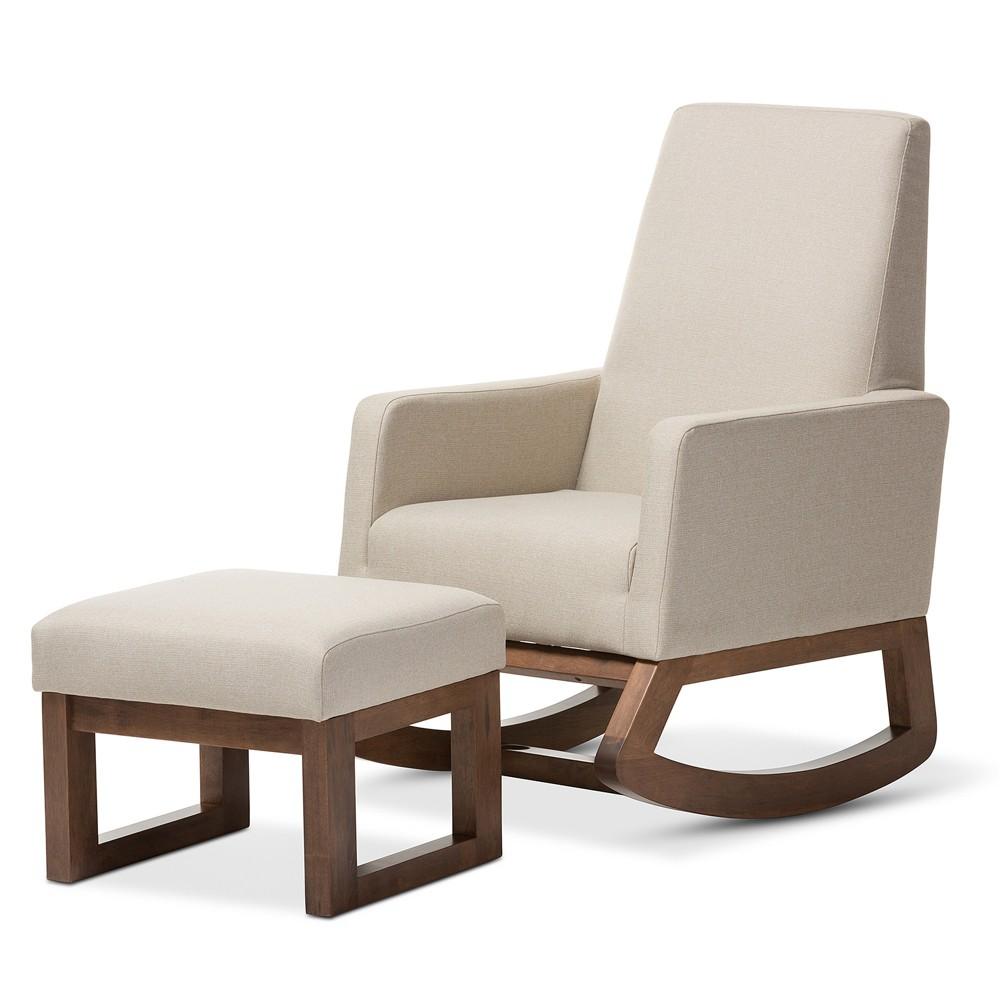Yashiya Mid - Century Retro Modern Light Fabric Upholstered Rocking Chair and Ottoman Set - Light Beige - Baxton Studio