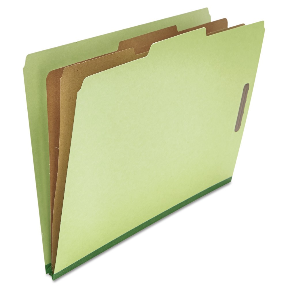 Universal Pressboard Classification Folder, Legal, Six-Section, Green, 10/Box