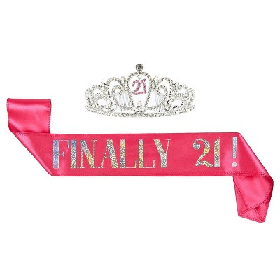 21th Birthday Tiara and Sash - Finally 21 Pink Glitter Satin Sash and Rhinestone Crown Tiara Set for Gift Party Supplies and Decorations