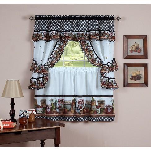 GoodGram Mason Jars Cottage Style Kitchen Curtain Swag & Tiers Set - image 1 of 1