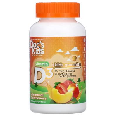 Doctor's Best Doc's Kids, Vitamin D3 Gummies, All Natural Fruit Flavors, 25 mcg (1,000 IU), 60 Natural Fruit Pectin Gummies, Vitamin D
