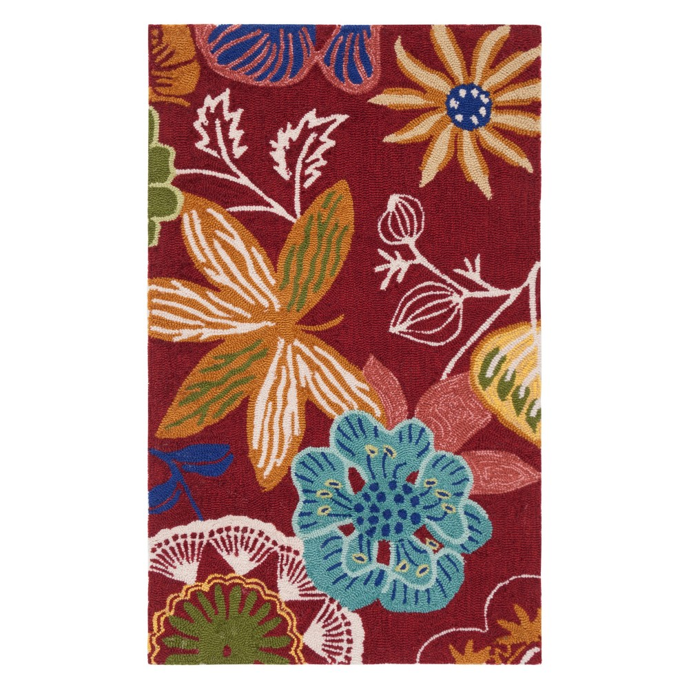 2'X3' Floral Accent Rug Red - Safavieh, Red/Multi-Colored