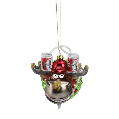 """Northlight 4.5"""" Moose in Wreath with Beer Drinking Helmet Glass Christmas Ornament - Gray/Red - image 1 of 2"""
