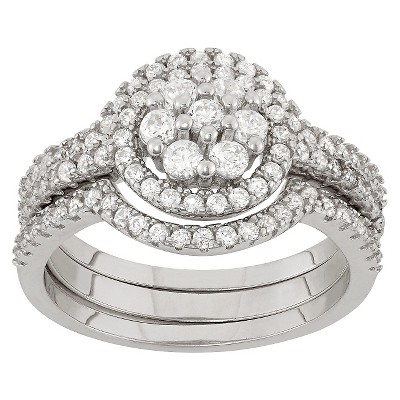 0.9 CT. T.W. Cubic Zirconia Engagement Ring Set In Sterling Silver