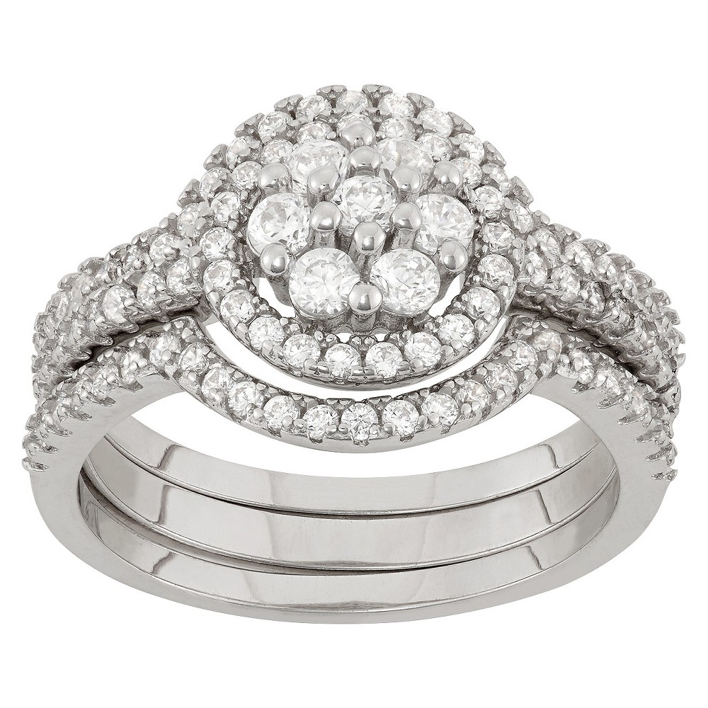 0.9 CT. T.W. 3-Piece Multi Round Cubic Zirconia Ring Set In Sterling Silver - (7), Girl's