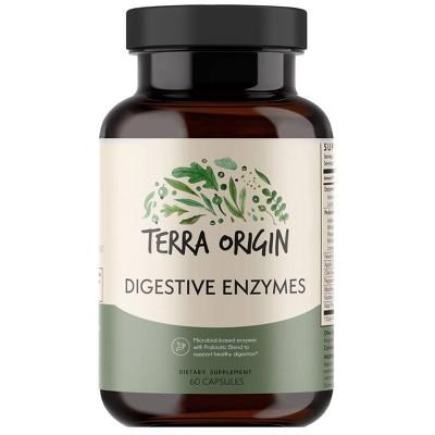 Terra Origin Digestive Enzymes Probiotic Blend Dietary Supplements - 60ct
