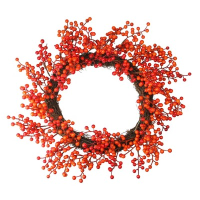 Northlight Red and Orange Artificial Berry Artificial Thanksgiving Wreath - 18-Inch, Unlit