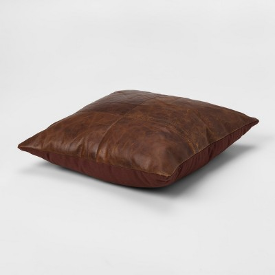 Ordinaire Genuine Leather Square Throw Pillow Brown   Threshold™