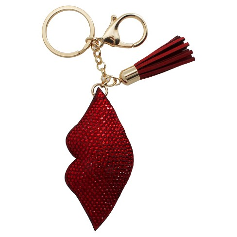 Women's Key Ring Faux Leather Lips With Stones- Gold/Red - image 1 of 1
