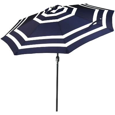 Sunnydaze Outdoor Aluminum Pool Patio Umbrella with Push Button Tilt and Crank - 9' - Navy Blue Stripe