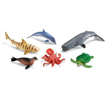 Learning Resources Jumbo Ocean Animals I Octopus, Whale, Shark, Sea Turtle, Seal, and Dolphin, 6 Animals