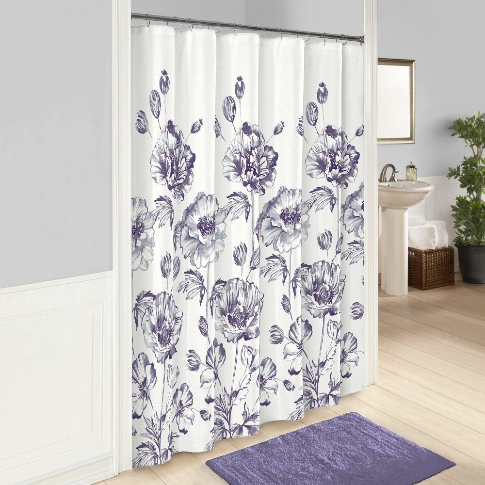 Image of Jasmeen Printed Shower Curtain Purple - Marble Hill