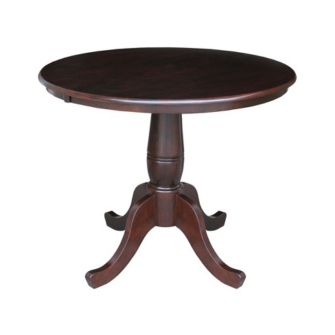 "36"" Round Top Pedestal Table Dark Brown - International Concepts - image 1 of 2"
