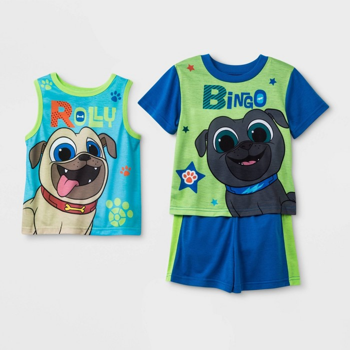 Toddler Boys' 3pc Puppy Dog Pals Poly Pajama Set - Green/Blue - image 1 of 1