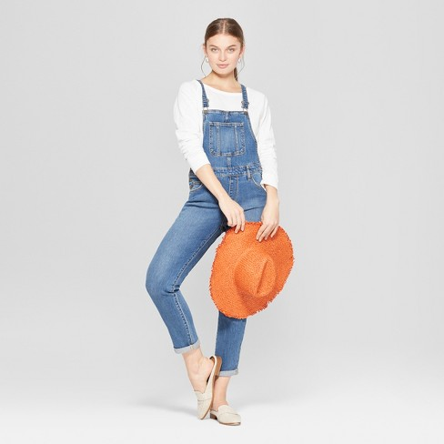 Women's Mid-Rise Straight Leg Denim Overalls - Universal Thread™ Medium Wash - image 1 of 3