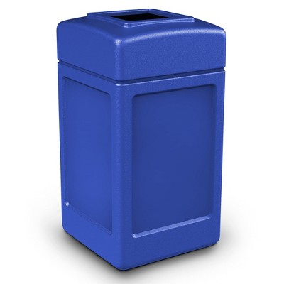 Commercial Zone 732101 Open-Top Indoor/Outdoor Square 42 Gallon Large Waste Trash Container Bin, Blue
