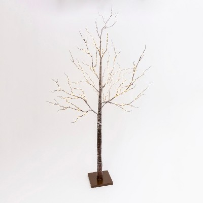 Gerson International 82.67-Inch Tall, Brown Wrapped, Snowy Tree with LED Lighting