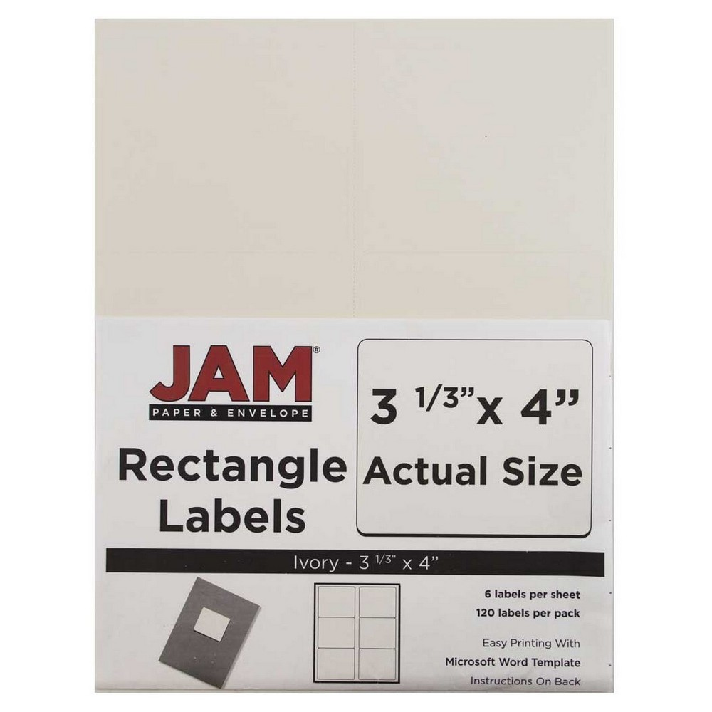 """Image of """"JAM Paper Mailing Labels 3 1/3"""""""" X 4"""""""" 120ct - Ivory"""""""