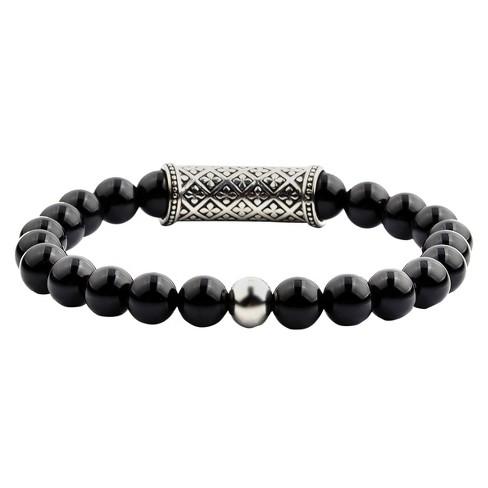 Men's Crucible Natural Stone Beaded Bracelet With Fleur De Lis ID - Black Onyx - Size (8mm) : Target