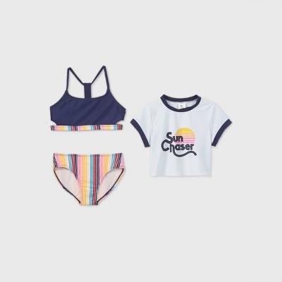 Girls' Short Sleeve Sun Chaser 3pc Bikini Set - art class™