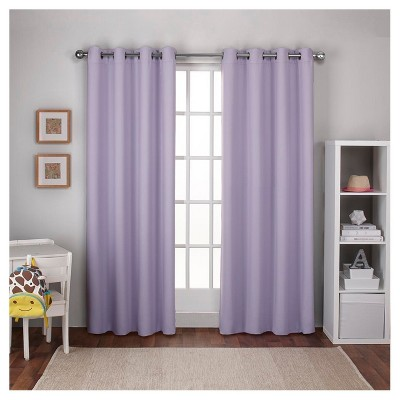 Woven Blackout Curtain Panel Set Lilac (52 x96 )- Exclusive Home