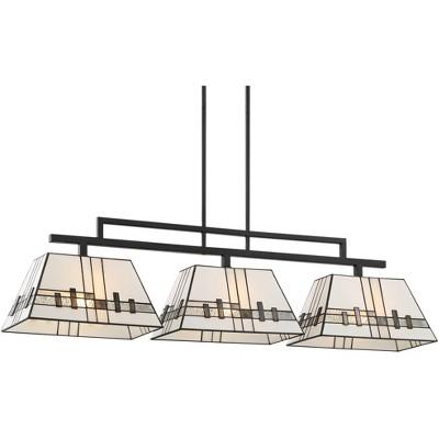 "Robert Louis Tiffany Black Large Linear Island Pendant Chandelier 45 3/4"" Wide 3-Light Modern Tiffany Style Art Glass for Kitchen"