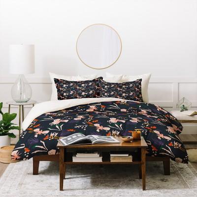 Floral Holli Zollinger Anthology Of Pattern Seville Garden Duvet Cover Set Black - Deny Designs