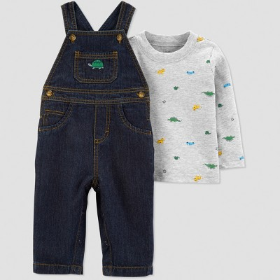 Baby Boys' 2pc Turtle Dino Overall Set - Just One You® made by carter's Blue/Gray 18M