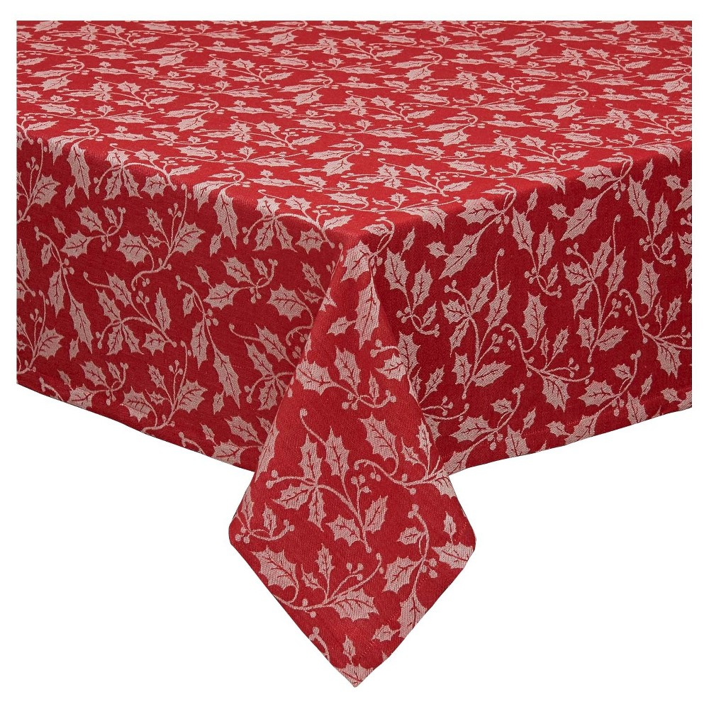 Red Holly Flourish Jacquard Tablecloth (52