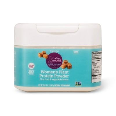 Women's Plant Protein Powder - Salted Caramel - 16.6oz - Simply Balanced™