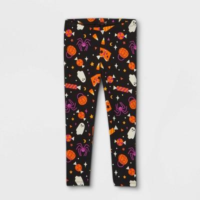 Toddler Girls' Halloween Print Leggings - Cat & Jack™ Black