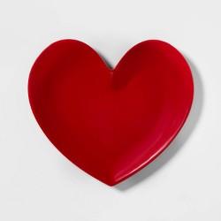 """10.9"""" x 9.8"""" Melamine Heart Shaped Dinner Plate Red - Opalhouse™"""