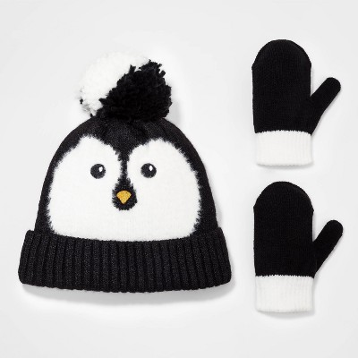 Toddler Girls' 2pk Penguin Knit Beanie with Magic Mittens - Cat & Jack™ 12-24M