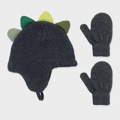 Toddler Boys' Knit Dinosaur Beanie and Basic Magic Mittens Set - Cat & Jack™ Charcoal Gray 12-24M
