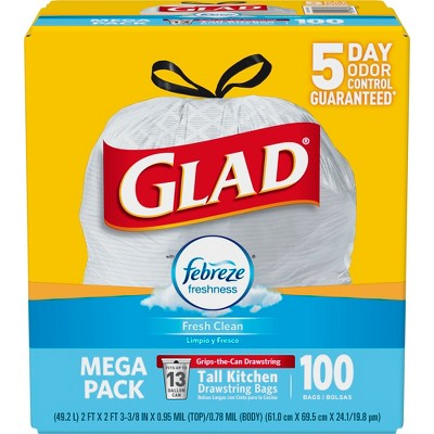 Glad OdorShield Fresh Clean Scented Drawstring Tall Kitchen Trash Bags - 100ct